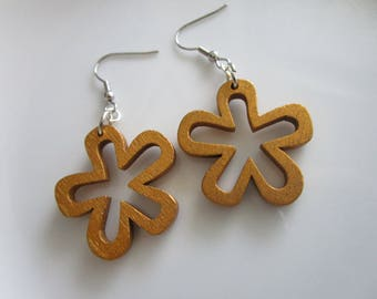 Golden Brown daisy flower wooden earring - wood painted jewelry - wood earring - hobo earring - stainless steel nickel free earring - flower