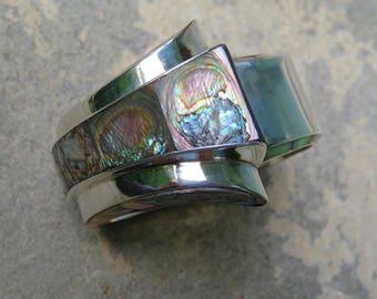 Vintage Taxco Silver Bracelet, Sterling and Abalone Cuff, Alfredo Villasana Silver Jewelry, Vintage Mexican Silver Jewelry, MCM Bracelet