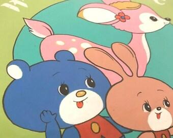 Hand painted kanban - cute illustrator deer, bear and rabbit