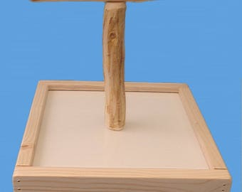 "All Natural Bird T-Perch Stand With 10"" x 10"" base-Hand Made Bird Perch"