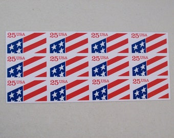 1990 American Flag Plastic Stamp, ATM Pane Sheet of 12 Stamps, Mint, MNH, Scott # 2475 Self Adhesive