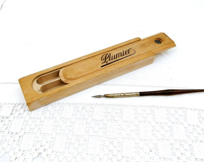Vintage French Plumier Wooden Fountain Pen Box with Sliding Lid, School Pupil Pencil Case Made of Wood from France, Desk Office Writing
