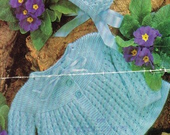 baby knitting pattern for matinee  jacket  bonnet  3 or 4 ply 19 /20 in chest instant download