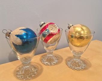 Set of Three Vintage Mercury Glass Christmas Ornaments- Shiny Brite USA