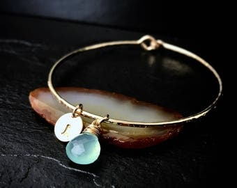 Aqua Chalcedony Charm Bracelet / Gemstone Charm Bangle / Aqua Blue Gemstone / Modern Bohemian Jewelry / 14k Gold Charm Bangle
