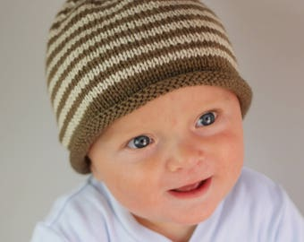 Beanie hat for Baby/ Toddler in stripped Rowan wool - 1-2 years - chocolate brown and cream stripes