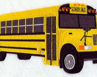 School Bus Embroidered on Made-to-Order Pillow Cover