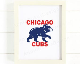 Chicago Cubs Print, Chicago cubs poster, go cubs