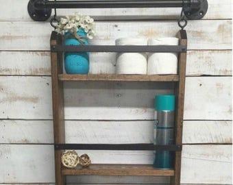 ON SALE Industrial Farmhouse Decor-Bathroom Shelving-Rustic Wood Shelf-Rustic Home Decor