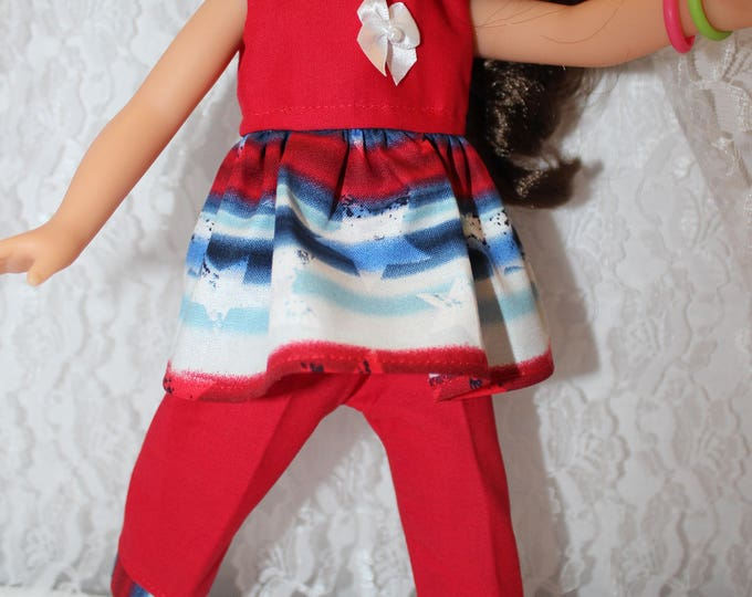 Red White and Blue Crop Top, Short Pants with Ruffle . Handmade to fit the wellie wisher and Heart to Heart doll Free Shipping