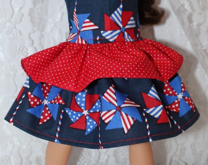 Red White and Blue Pinwheel Print Dress with red Ruffle. Handmade to fit the wellie wisher and Heart to Heart doll Free Shipping