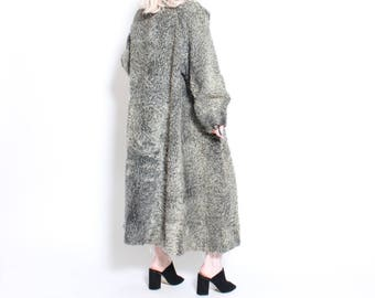 Vintage 50s Grey Persian Lamb Fur Long Coat