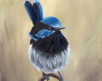 SALE Bird Art Painting Superb Fairy Wren SFA Wildlife Original hand painted bird acrylic painting by Australian Artist Janet M Graham