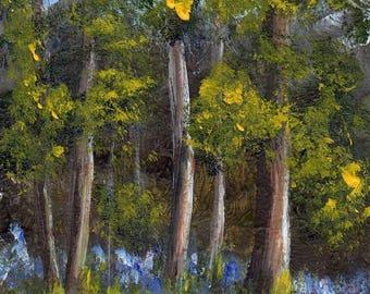 SALE Bluebell Path ACEO Landscape Flowers Trees Original Acrylic ACEO landscape painting by Australian Artist Janet M Graham