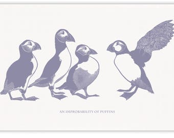 100% cotton tea towel with four Puffins