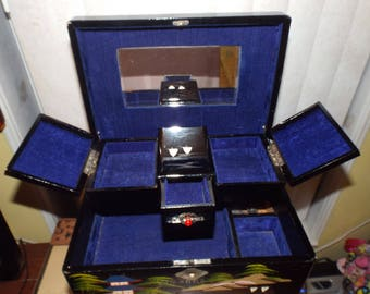 Japanese Music Box for Jewelry Black Lacquer 1970s Vintage