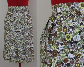 Artzy Floral Print Pencil ||| Mod Floral ||| 1960s ||| Size 2 ||| Green, Yellow, and Brown Floral ||| Retro Skirt
