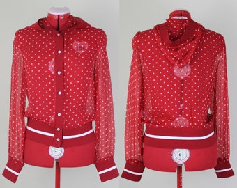 Polka Dotted Little R.E.D. Valentino Riding Hoody ||| Medium ||| 1990s ||| RED Valentino ||| Designer ||| Red Silk Ho