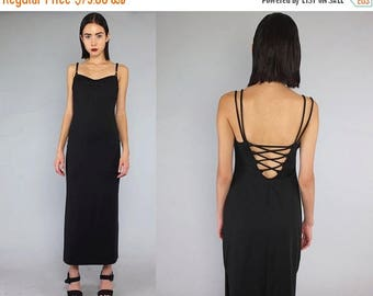 40OFF Vtg 90s Black Minimal Lace Up Backless Maxi Dress S M