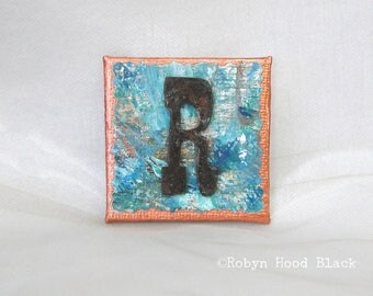 Rustic Letter R and Painted Verdigris Magnet 2 X 2