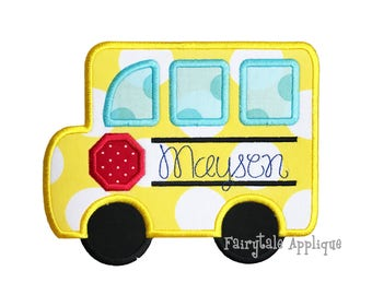 Digital Machine Embroidery Design - School Bus Applique