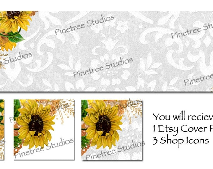 Etsy Cover Photo Banner (for Pattern Website too) and 3 Shop Icons ~ Sunflowers and White/Grey Background