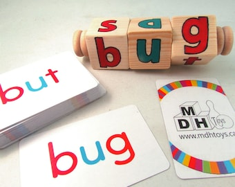 CVC word blocks with optional flash cards - Learn to Read - Montessori CVC word spinner - CVC phonetic reading spinner- Back to School