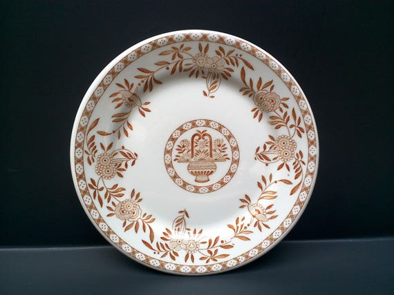 "Brown Floral Side Plate 7 1/2"", Jackson China, USA Plate, Falls Creek, PA, Serving, Wall Decor, Buffet Plates, Ironstone,"