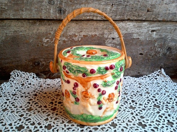 Vintage Biscuit Jar Cherubs, Japan, Storage Canister