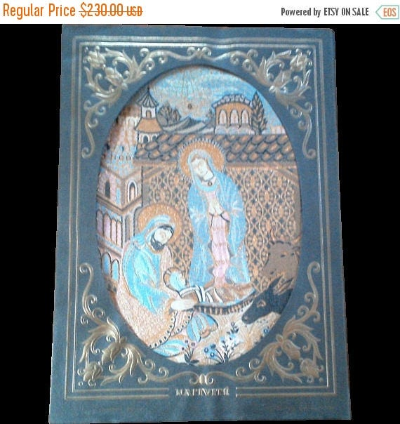 50% off Antique French Woven Silk Tapestry Fabric ~ Nativity Scene~Free Shipping
