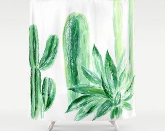 Cactus Shower Curtain, cactus shower, cactus curtain, white shower curtain, green shower curtain, plant shower curtain, succulent curtain
