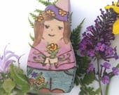 Gardening Gnome Wooden Waldorf doll, Wooden gnome, gnome home doll, pretend play, dollhouse gnome, Wooden Waldorf Toy