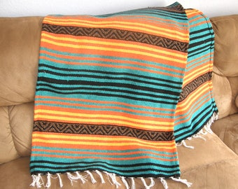 Man's Colors Hot Rod or Den Throw #N - Made from Mexican Blanket Fabric - Heavy rugged Den, Hot rods, parties, beach  - Green Orange Yellow