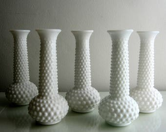 Set of 5 Hobnail Milk Glass Vases, Wedding Table Decor, White Wedding Vases, Bud Vase Lot, Reception Decor, White Flower Vase, Cottage Decor