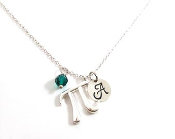 Pi Math Necklace - Initial Necklace - Personalized Necklace - Sterling Silver Jewelry - Gift for Her