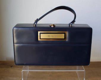 """Vintage 1960s Unique """"Prestige"""" Navy Leather Box Purse"""
