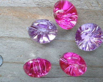 Set of buttons round light pink and purple sewing 14mm
