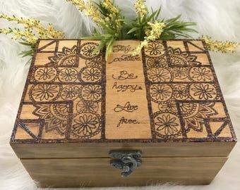 Floral Wood Burned Jewelry Box, Wood Keepsake Box