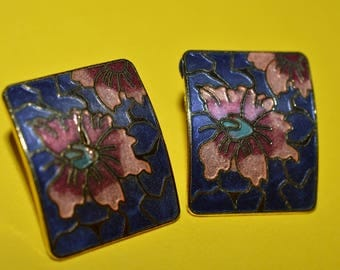Vintage Earrings Enamel  Cloisonne Orchid Flower 1980s