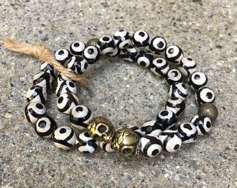 8mm beaded skull bracelet skulls evil eye beads agate gemstones