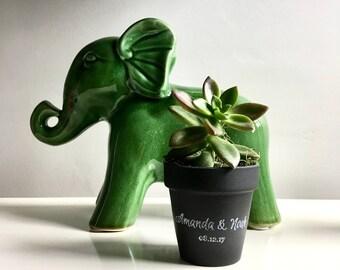 """Set of 25 personalized chalkboard clay pots.  DIY Succulent favors clay pots. 2 1/2"""" terracota pots. rustic wedding."""