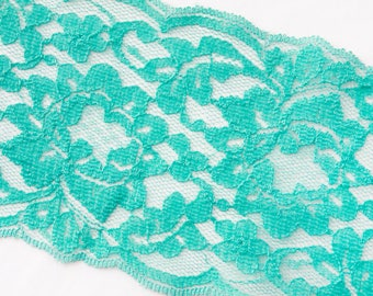 Turquoise flat Lace trim, 3.625 inch by 3 yard lace trim, teal lace, robbin egg blue lace band, belly band, wedding lace, invitation band