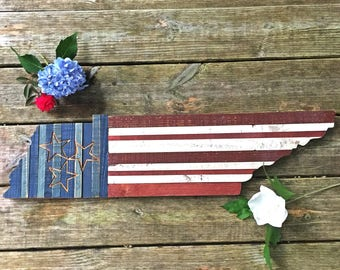 Patriotic Wall Decor - American Flag - Tennessee - Patriotic Wood Decor - Patriotic Gift - Stars and Strips Wall Art - Military Gift - Flag