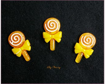 Cabochon resin gourmet lollipop orange lollipop x 1