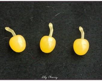 Little miniature yellow cherry for creations gourmet polymer clay kawaii x 1