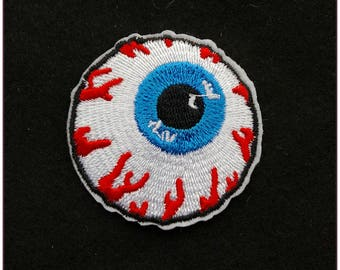 Embroidered patch fusible blue 5cm eye skull pinup rockabilly eye ball x 1