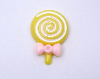 1 x yellow lollipop resin cabochon