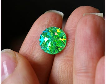 Cabochon 12mm Green snow Star Spangled x 1