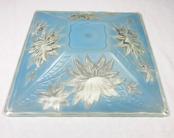 Vintage Mid Century / 1950s - 1960s / Ceiling Light Fixture / Cover / Renovation / Blue, Clear  Glass / Lamp Shade / Architectural Salvage