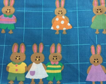 vintage fabric 2.5+ yds - cute bunnies in clothes on blue checked background